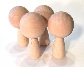 Kokeshi Dolls Big Head - Four Figures- Ready To Paint DIY Wooden Dolls