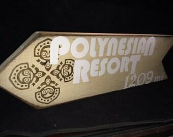 Disney Home Decor – Disney World Polynesian Resort Arrow Sign – This Many Miles to Disney World Polynesian Resort – Disney World Vacation