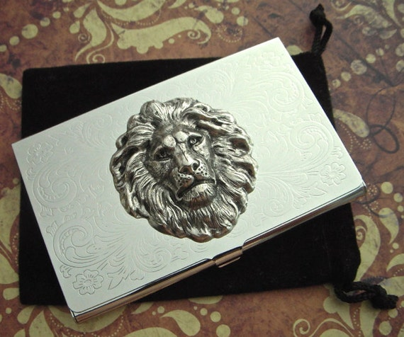 Silver lion head business card case silver plated metal slim colourmoves Choice Image