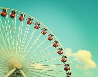 Beach Art Print, Ferris Wheel Carnival Photography, Navy Pier, Carnival Nursery Art, Chicago Art, Chicago Print - Summer at Navy Pier