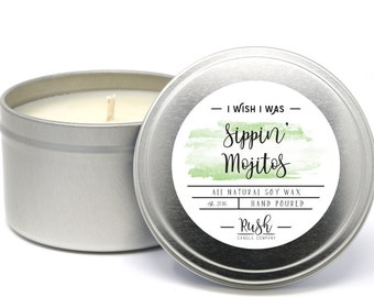 Soy Candle in Tin. 8oz Travel Tin Candles. Alcohol Gift. Candles in Tins. Soy Candles Handmade. Mint Mojito Candle. Scented Soy Candle