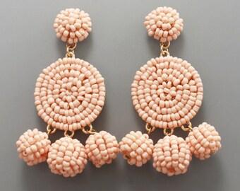 Peach Seed Bead Disk Drop Earrings