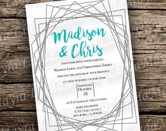 DIY modern Wedding invitation | geometric wedding | Bridal shower digital download | geometrical