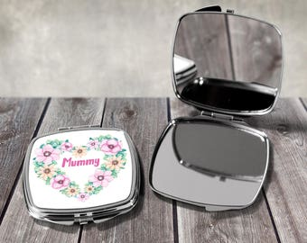 Floral Mummy Heart Compact Mirror Thank You Best Mum Mothers Day