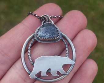 polar bear sterling silver dendritic opal necklace - bear necklace - snow - statement necklace