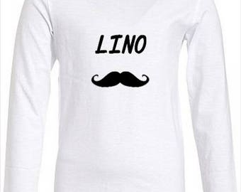 t shirt child boy girl in white cotton, first name choice + mustache