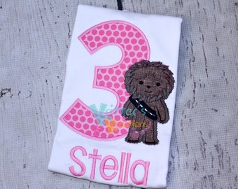 Birthday - Star Wars - Chewbacca Inspired Embroidered Applique Shirt