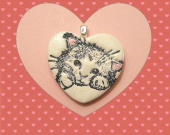 Cat Jewelry, Sweet Cat Heart Pendant or Necklace, Kitty Jewelry, Cat Face, handmade polymer clay