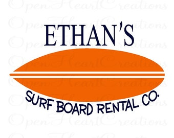 Personalized Name Surf Board Wall Decal - Baby Boy Girl Teen Vinyl Wall Decal with Shark Surfing Ocean Theme 22H x 36W BA0263