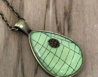 Real Ladybug Necklace,Preserved Spider Web, Spider Web Necklace, Spider Web Pendant, Genuine Spider Web, Ladybug Pendant