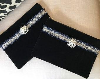 Velvet Clutch with Tweed ribbon
