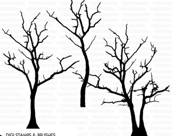 Bare Winter Trees - SILO Clip Art - Digital Stamps/Brushes - INSTANT DOWNLOAD - for Cards, Scrapping, Journaling, Collage, Invites, Crafts