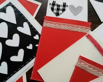 Free shipping, spedizione gratutita,Set of 8 Valentine's day cards and envelopes, composizione di 8 biglietti e buste, San Valentino