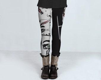 Horror Puppe Leggings für Frauen, Leggings in schwarz und weiß, Gothic Leggings, handgemachte Leggins, Punk, Wippe Leggins von Felicianation