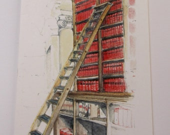 Greeting card. Library shelves and ladders