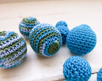 Crochet beads, wooden beads, turquoise beads, set of ten, handmade beads, jewelry making supplies, cute beads, hand beading, crochet covered