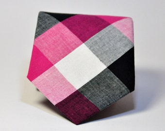 Boys Necktie Hot Pink and Black Check Toddler Tie
