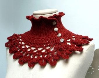 Rust Brown Marsala crochet neckwarmer, capelet with turtle neck, ruffled neckline and lace collar - victorian, bohemian style - NINU'