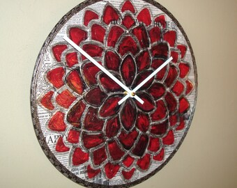 Original Art Wall Clock 12-Inch SILENT, Dahlia Clock, Red and Black Floral Clock, Hand Painted Clock, Unique Wall Clock - 2208