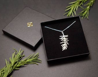Leaf Necklace | Rosemary Necklace | Herb Necklace | Nature Necklace | Botanical Necklace | Feather Necklace | Plant Necklace | Hand Made