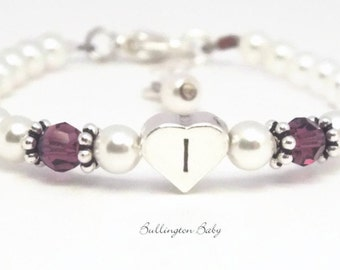 Baby Bracelet, Baby Pearl Bracelet, Birthstone Bracelet, Initial Bracelet, Baby Shower Gift, Christening Bracelet, Baptism Bracelet (B69)