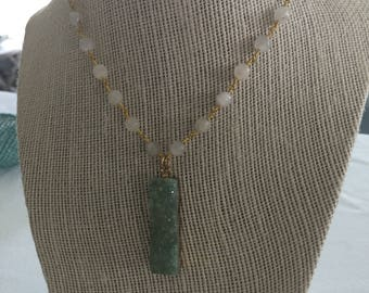 Rosary chain short necklace with mint druzy