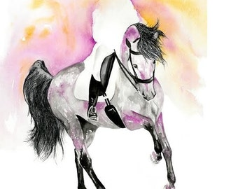 Beautiful Equine horse art dressage movement based print  from an original watercolour painting  sketch individually signed