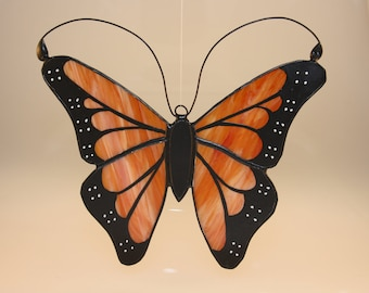 Monarch Butterfly Hand-Painted Stained Glass Suncatcher - Made to Order (MON034)