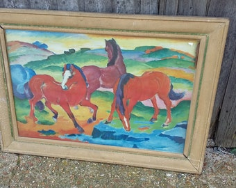 Massive Vintage Print of Horses. COLLECTION ONLY Bexhill