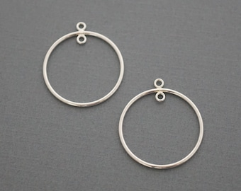 Silver Round Hoop Earring components - 925 Earring frames - sterling frames with loops - 2 pieces or More