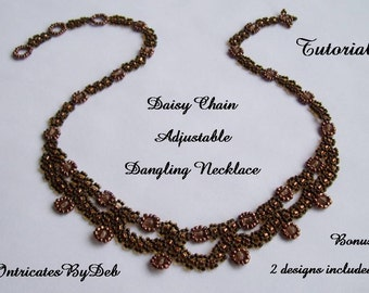 Tutorial Daisy Chain Adjustable Dangling Necklace - Seed Bead Jewelry Beading Pattern, Beadweaving Instructions, PDF, Do It Yourself, How To