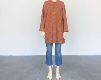 Izod Oversized Rust Stripe Shirt / Dress (XL)