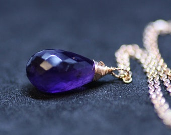 Natural Purple Amethyst Pendant Briolette Drop  14k Rose Gold Filled , February Birthstone , 6th 9th 28th 33rd Anniversary , From Canada