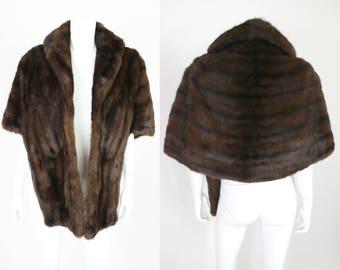 Vintage Brown Fur Stole Medium Length Snap Closure
