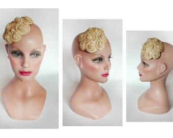 minimalist straw fascinator Hat ceremony, wedding hat, pillbox, barrette, wedding hair clip