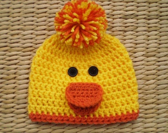 Duck Hat, Duck Beanie, Baby Easter Hat, Spring Hat, Baby Hats, Newborn Hat, Toddler Hat, Kids Hats, Womens Hats, Mens Hats, Photo Props