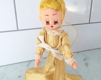 Gold Lame Angel, Vintage Mesh Angel, Made in Japan, Angel Tree Topper, 1950s Angel, Christmas Angel, Christmas Decor