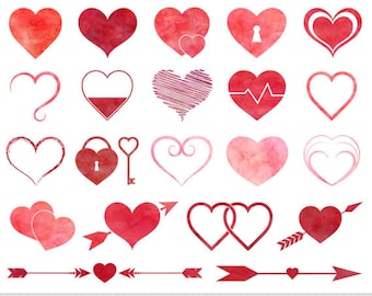 Hearts Clipart Valentine Clipart Watercolor Hearts Clipart Red Hearts Clip Art Scrapbooking Invitations Wedding Icons Love Hearts Clipart