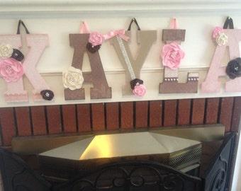 Custom Block Letter Name Sign - Custom Girls Block Letter Shabby Chic Name Sign - Custom Hanging Block Letters