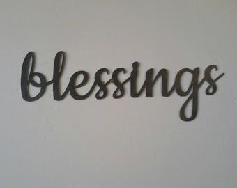 Blessings Metal Sign, Blessings Sign, Blessings Metal Word, Blessings Metal Art