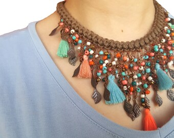 Apache necklace, native american jewelry style