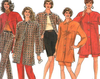 Simplicity 8078 Misses Pants Or Shorts, Skirt And Loose-Fitting Shirt-Jacket Pattern, 10-16, UNCUT