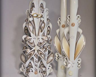 Wedding candles, candles for wedding, unity wedding ceremony, wedding ceremony, candles set, carved candles, candles, candle, coffee