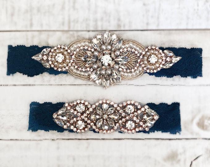 Rose gold Bridal Garter, navy garter, NO SLIP Lace Wedding Garter Set, bridal garter set, vintage something blue D04RG-D02RG