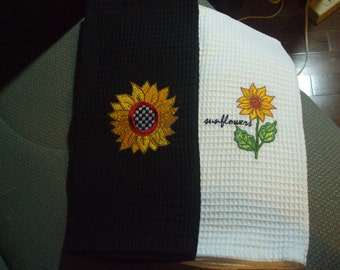 Set of 2 Sunflower 100% cotton waffle weave kitchen towels