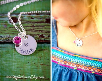 Girls Heart Necklace • Personalized Girls Necklace •Heart Jewelry Stamped Gift Sterling Silver Little Girl Gift • Girls Birthday Party Favor