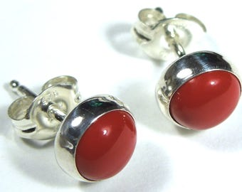 6mm Round Genuine Red Coral 925 Sterling Silver Stud Post Earrings - Made in USA