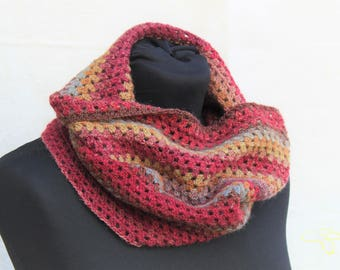 READY TO SHIP, Neck warmer, crochet Infinity scarf for man or woman, or made to order in any colour