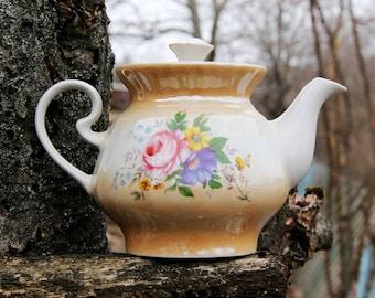 Teapot Vintage flower Porcelain Teapot Retro Teapot Soviet Teapot USSR Porcelain Ceramic Teapot flower Teapot flower décor shabby chic