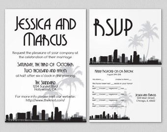 Printable Miami Invitation Wedding Party Special Event Flat Other Cities available City Skyline Florida Hometown Travel